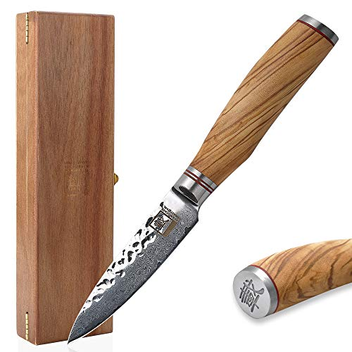 Zayiko Olive Damastmesser Officemesser - sehr hochwertiges sehr scharfes Profi Office Messer mit Damast Klinge 9 cm, Küchenmesser, Kochmesser