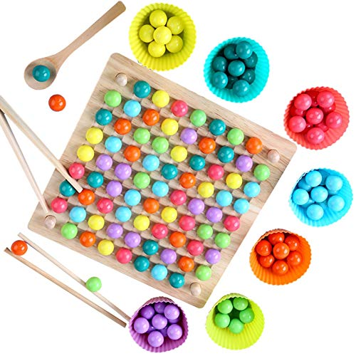 NIMON HUIJ Jouet Montessori en Bois Éducatif Jeux de Plateau Jeu de Clips de Perles Enfants JouetsPerles Puzzle Mains Brain Training Jeu Great Gift