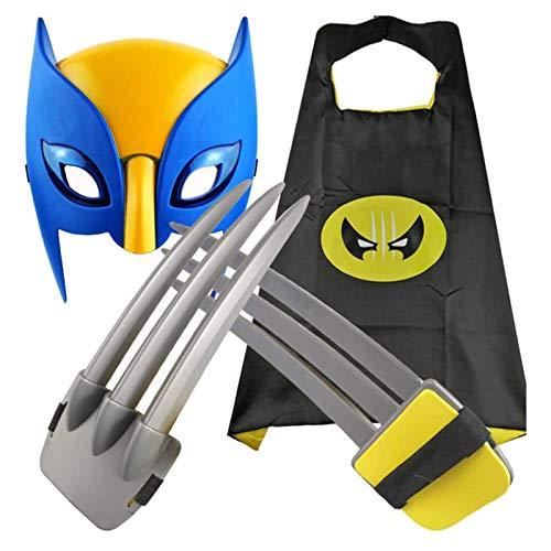 DRAKE18 Los Juguetes de los nios de Wolverine Claws Ojos Brillantes Juego de rol de un glotn de Tres Piezas Accesorios de Maquillaje para la Fiesta de Disfraces Los Regalos de los nios