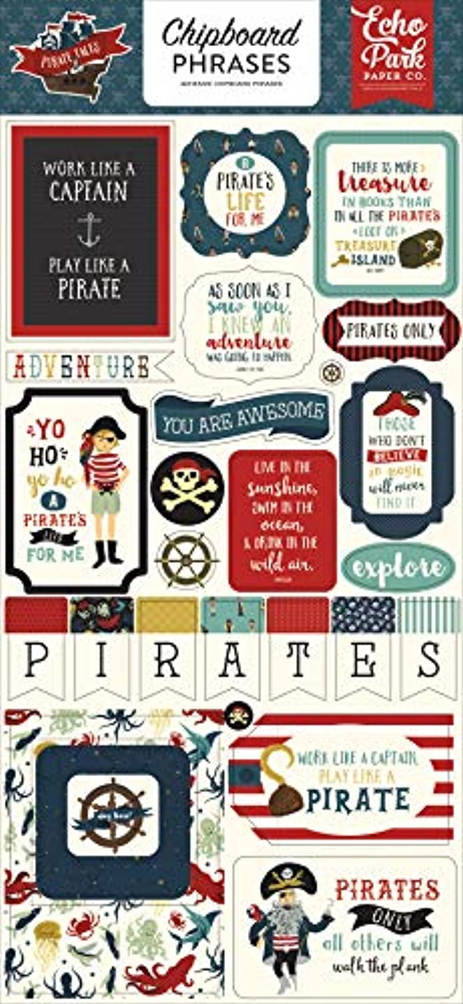 Echo Park Paper Company PTA176022 Pirate Tales 6x13 Phrases chipboard, red, Navy, Black, Brown, Yellow