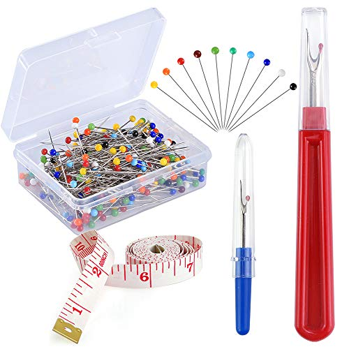 Pllieay 250 Pieces Sewing Pins 38mm Multicolor Glass Ball Head Pins Straight Quilting PinsIncluding Sewing Seam Ripper and Soft Tape Measure for Dressmaking Jewelry Components Flower Decoration
