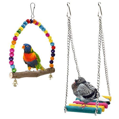 Rusee Bird Schaukeln, Holz Wellensittich Toys Pet Bird Cage Hängematte Swing Spielzeug zum Aufhängen für Sittiche Nymphensittiche, sittichen, Aras, Papageien, Love Birds, Finken (2 Pack)