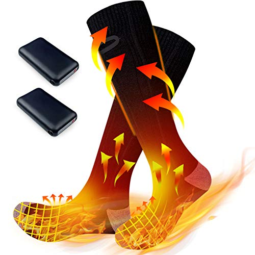 CEINUMBAL Heated Scoks for Women Men, Winter Electric Upgraded Rechargeable 3 Heating Settings Thermal Cotton Sock with Large Capacity Battery up to 6-10 Hours Heating Time, Winter Outdoor Warm Socks
