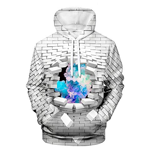 WEIYI BO maoyi Men's Pullover Hoodie 3D Print Creative Wall Series Casual Novelty Long Sleeve Hooded Sweatshirts with Pocket 1 Design XXS