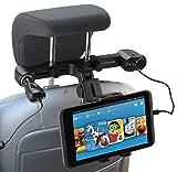 Navitech USB-Anschluss 4.2A Kopfstützenhalterung mit integriertem KFZ-Ladegerät für die Acer Iconia Tab 10 A3-A40