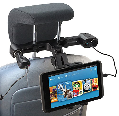 Navitech USB port 4.2A headrest mount with integrated car Car Charger for the Acer Iconia W800 8', W510, W700, A200, A700, M500, A100, A500, A1 Liquid