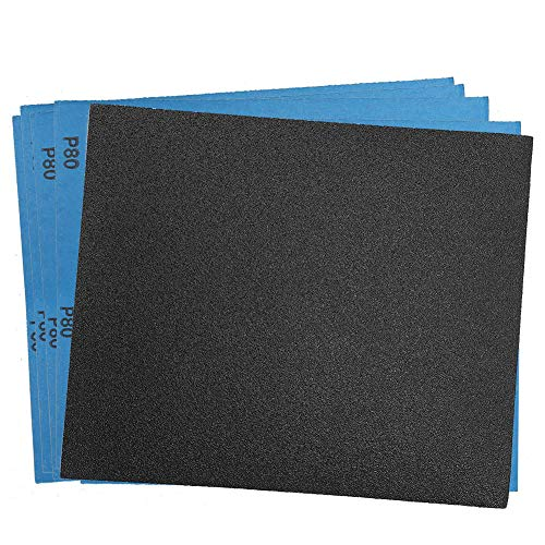 80 Grit Dry Wet Sandpaper Sheets by LotFancy - 9 x 11' Silicon Carbide Sandpaper for Metal Sanding, Automotive Polishing, Wood Furniture Finishing, Wood Turing Finishing, Pack of 30