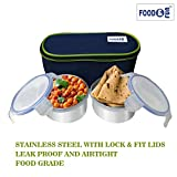 FOOD & FUN Stainless Steel Insulated Lunch Box Set for Office Men, Women