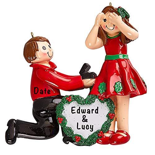 Holiday Traditions Trauerpaar Verlobungsring personalisierbar – Einzigartiger Weihnachtsbaumschmuck – spezielles Andenken – individuelle Dekoration – Personalisierung enthalten