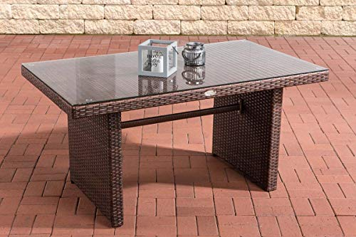 CLP Polyrattan-Gartentisch FISOLO mit Einer Tischplatte aus Glas I Wetterbeständiger Tisch aus Kunststoff, Farbe:braun-meliert