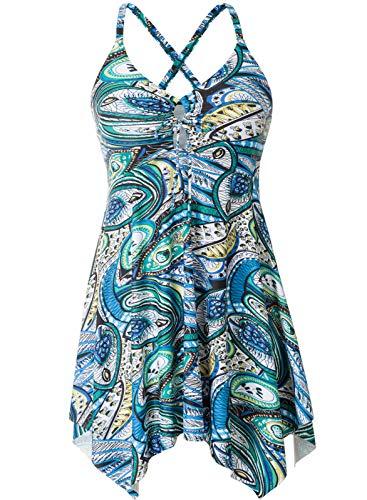 Hanna Nikole Women's Two Piece Tummy Control Swimwear Bathing Suit for Plus Size Women 24W