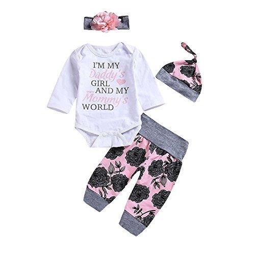 MEIbax Babykleidung Baby Kleidung Set, MEIbax 3pcs Baby Neugeborenes Mädchen Jungen Kleidung Lange Ärmel Strampler Overall + Hosen +Hut Outfits Spielanzug Set