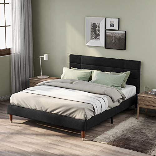 Pumpumly Cama doble tapizada con canapé y somier, 140 x 200 cm, con cabecero, color negro, para adultos y adolescentes (colchón no incluido)