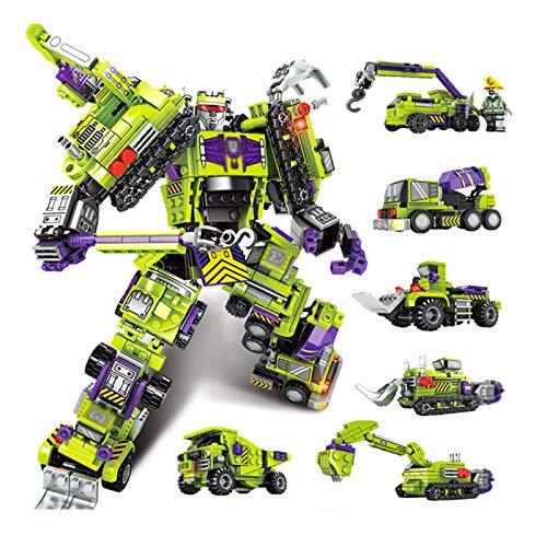 SUOTENG Transfórmers TOys, 6 en 1 Serie de Deformación Conjunto de Bloque de Construcción, Robot Ingeniería Modelo de Vehículo de Deformación, Compatible Bloques de Construcción