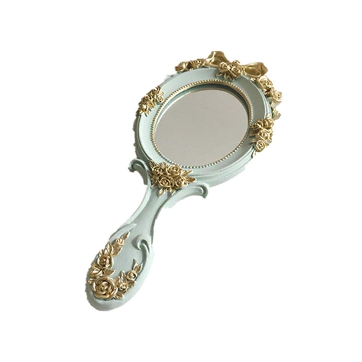 毒騒考古学化粧ミラー 鏡 美容メイクアップ用化粧鏡は、化粧鏡として使用することができ、ミラー、ドレッシングテーブルデコレーション(グリーン、ピンク、ホワイト)ハンドル 浴室鏡 (色 : 緑, サイズ : 12x26.5cm)