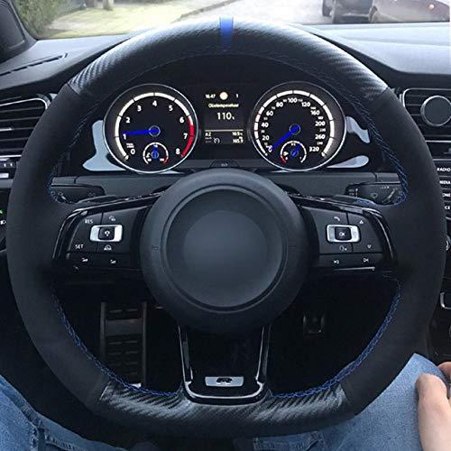 LDSHW Lenkradabdeckung FÜR Carbon Leder Schwarz Wildleder Blau Marker Auto Lenkradbezug für Volkswagen Golf 7 GTI R MK7 VW Polo GTI, blaues Gewinde