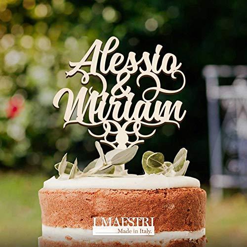 Cake topper matrimonio personalizzato, in legno, personalizzabile con nomi sposi - I MAESTRI