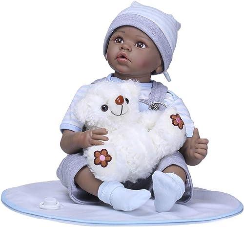 FHSGG 5cm Reborn Baby Dolls sch  dunkle Haut real Life Weiße silikon Vinyl lebensechte Spielzeug Geschenk realistisch,Blau,5cm
