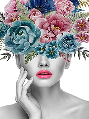 5D DIY diamante pintura mujer diamantes de imitación imágenes diamante mosaico flores bordado de cuentas punto de cruz decoración del hogar A1 40x50cm