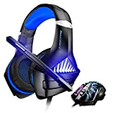 BENGOO GM-5 Stereo Gaming Headset for Xbox One, PS4, PC with Mouse, Noise Cancelling Over Ear Headphones with Mic, LED Light, Gaming Mouse Wired with 3200 DPI Adjustable and 6 Programmed Buttons