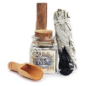 UnaLunaMoona Wicca Black Salt Kit | Black Salt for Protection | Black Salt Witchcraft | Empath Protection | Witch Salt | Witchcraft Supplies and Tools | Black Salt Wicca | Charged Using Dark Moon