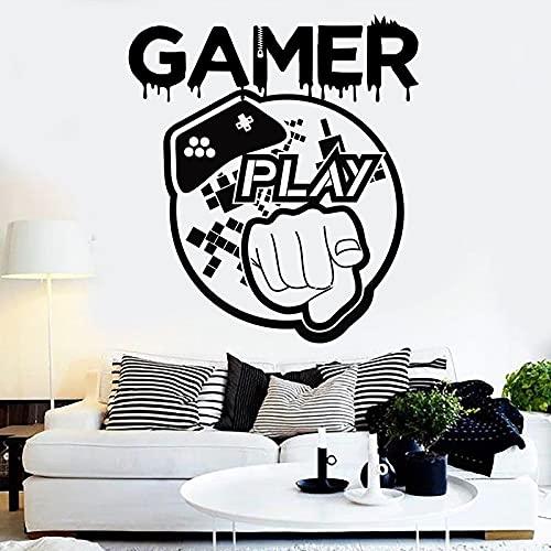 YGYT Pegatinas de Pared Negro 57X65CM Gamer Love Games Etiqueta de la Pared Eat Sleep Game Controller Video Personalizado para niños Dormitorio Vinilo Pared Arte calcomanías