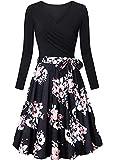 EFOFEI - Vestido casual de manga larga para mujer, estilo Audrey Hepburn B-rosa. XXL