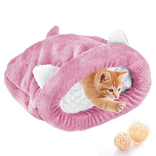 Haokaini Vellón Suave Gato Saco de Dormir Calentamiento Lavable Camas para Mascotas Acurrucarse Saco Manta Colchoneta Gatos Perros Nido Casa Cueva Acogedor Gatito Cubierto Cama para