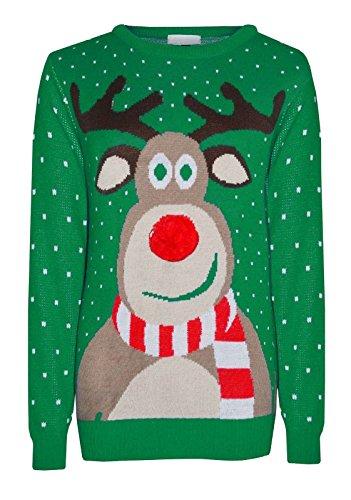 MyMixTrendz HHerren Weihnachten gestricktes Weihnachts-Rentier für, zum Pub-Pullover Größe S-2XL (3XL, 3D Pom Pom Green)