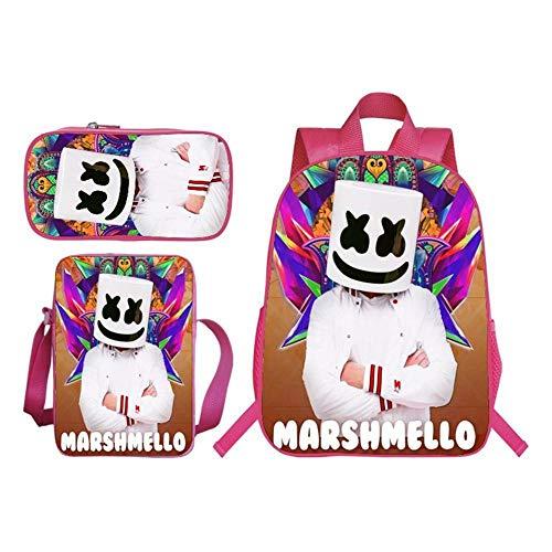 CHANG Mochilas Infantiles para Niños Marshmello Smiley Face Impresa   Bolsa De Mensajero