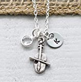 Violin Necklace for Women - Personalized Initial & Birthstone - Band Gifts for Band Teacher Appreciation - Music Themed Jewelry