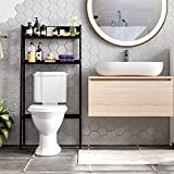 HOMECHO Over-The-Toilet Storage Rack Etagere Bathroom Shelf with 2-Tier Open Shelves Wooden Space Saver Multipurpose Organizer Dark Espresso