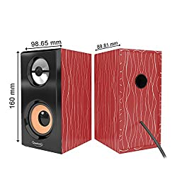 Quantum QHM630 Portable Laptop/Desktop USB Powered Multimedia Wooden Speaker with AUX Input (Cherry),Aspire overseas pvt ltd,QHM 630 2.0 WOODEN,Quantum speaker,Quantum speaker Micro USB,speaker Quantum QHM 630 2.0 WOODEN,usb speaker