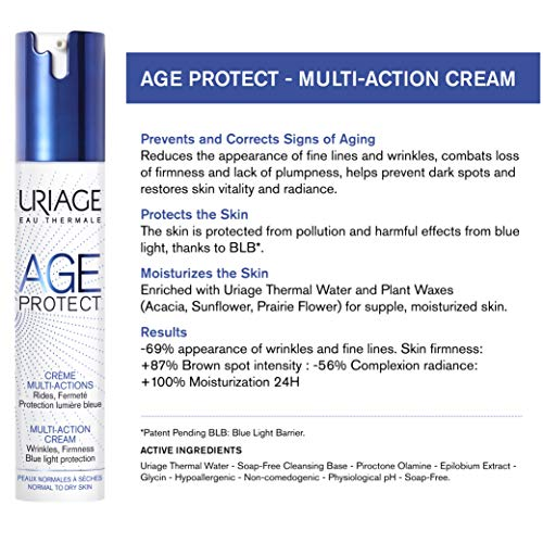 URIAGE Age Protect Multi-Action Cream 1.35 fl.oz.   Anti-Aging Cream with Retinol, Hyaluronic Acid, Vitamin C & Vitamin E to Reduce the Appearance of Fine Lines and Wrinkles & Combat Loss of Firmness