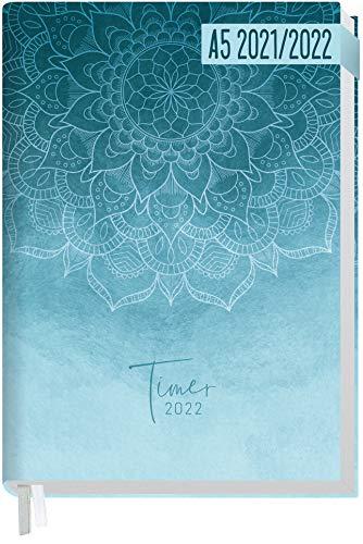 Chäff-Timer Classic A5 Kalender 2021/2022 [Blue Mandala] Terminplaner, Terminkalender für 18 Monate: Juli 2021 bis Dez. 2022   Wochenkalender, Organizer mit Wochenplaner   nachhaltig & klimaneutral