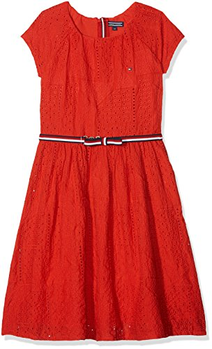 Tommy Hilfiger Mädchen AME Charming SHIFFLEY Dress S/S Kleid, Rot (Flame Scarlet 610), 128