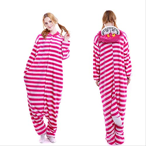 AYJMA Pijamas de Animales Onesie para Adultos Hombres Pijamas de Dibujos Animados para Mujeres Disfraz de Cosplay de Navidad Onesies Kigurumi Jumpsuit L Cheshire Cat Onesie