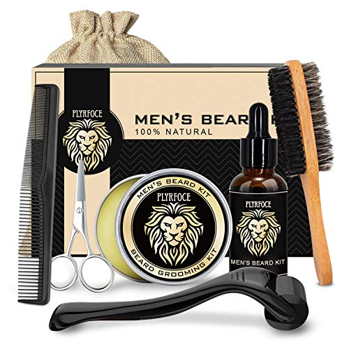 Beard Grooming & Growth Kit for Men - Complete Mustache Care Set with Beard Growth Oil, Mustache Wax Balm, Derma Roller 0.25 mm, Brush, Comb, Scissors & Storage Bag, Perfect Gifts for Him Man Dad Husband