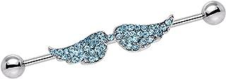 Body Candy Stainless Steel Blue Encrusted Angel Wings Helix Earring Industrial Barbell Piercing 14 Gauge 44mm