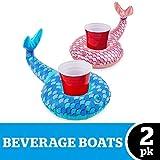 Flotadores posavasos hinchables para piscina 02 piezas - Cola de sirena