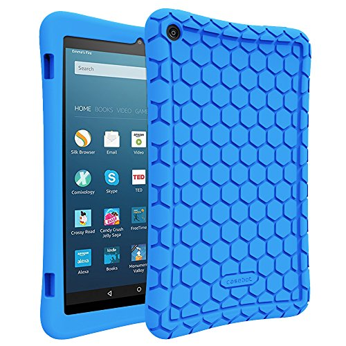 FINTIE Silicone Case for Amazon Fire HD 8 (Compatible with 7th and 8th Generation Tablets, 2017 and 2018 Release) - Honey Comb [Corner Enhancement] Shockproof Kids Friendly Cover, Blue