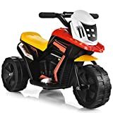 Costzon Kids Motorcycle, Battery Powered 3 Wheel Ride On Toy, Electric Ride On Motorcycle w/Music, Horn, Battery & Charger Included, Forward & Backward, Gift for Toddlers Girls & Boys (Black)