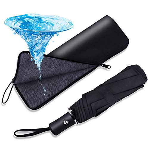 SIMENMAX Auto Folding Umbrella Larger Compact Travel Golf Umbrella with Water-Absorbing Storage Bag, [Automatic Open Close] [Sun Protection] [Ultra Rain Wind Resistant] - Black