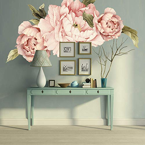 Murwall Pink Peonies Wall Decals Floral Wall Decal Peel and Stick Wallpaper Sticker