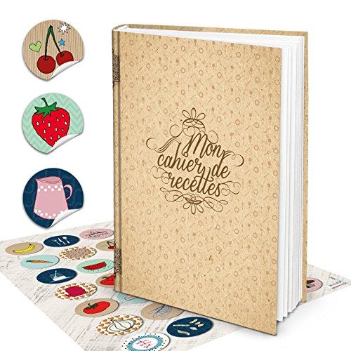 Cadeauset XXL HARDCOVER Frans receptenboek leeg MON CAHIER DE RECETTES + 35 kleurrijke keuken stickers Mijn kookboek eigen recepten notitieboek geschenk bruiloft keuken koken