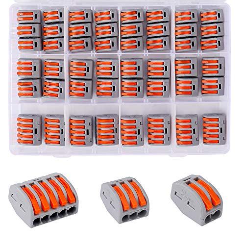 Connettori Elettrici 60 Pezzi Morsetti Elettrici con Leva di Funzionamento per cavi Solido, a Trefoli e Flessibili 20 Morsetti a 2 vie, 30 Morsetti a 3 vie, 10 Morsetti a 5 vie
