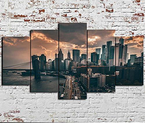 5 Piezas Cuadro sobre Lienzo De Fotos New York Cityscape Manhattan Lienzo Impresión Cuadros Decoracion Salon Grandes Cuadros para Dormitorios Modernos Mural Pared Listo para Colgar
