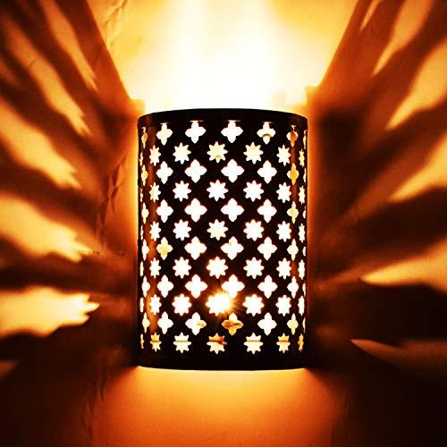 Oosterse lamp wandlamp Hafssa zilver 25 cm E14 lamphouder | Marokkaans metaal vintage wandlamp lamp lamp | Orient lampen binnen wanddecoratie in de woonkamer hal buiten op het balkon of terras