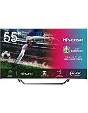 Hisense 55U7QF QLED telewizor 139 cm (55 cali) (4K ULED HDR Smart TV, HDR 10+, Dolby Vision & Atmos, Full Array Local Dimming, WCG, nagrywanie USB, ultra cienki design, środkowa podstawka)
