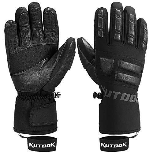 KUTOOK Snow Gloves Men with HIPORA Waterproof Membrane Goatskin Palm 3m Thinsulate - black - XXL